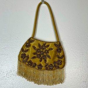 Vintage Gold Satin Beaded Bag